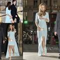 Kate Middleton Jenny Packham Designer Sky Blue Color Half Sleeve High Low Celebrity Dress Women Event Gown Free Shipping CD068