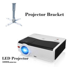 CAIWEI LED Home Theater Projector LCD Proyector Full HD 1080P Video Beamer Home Cinema Backyard Movie HDMI USB VGA with bracket