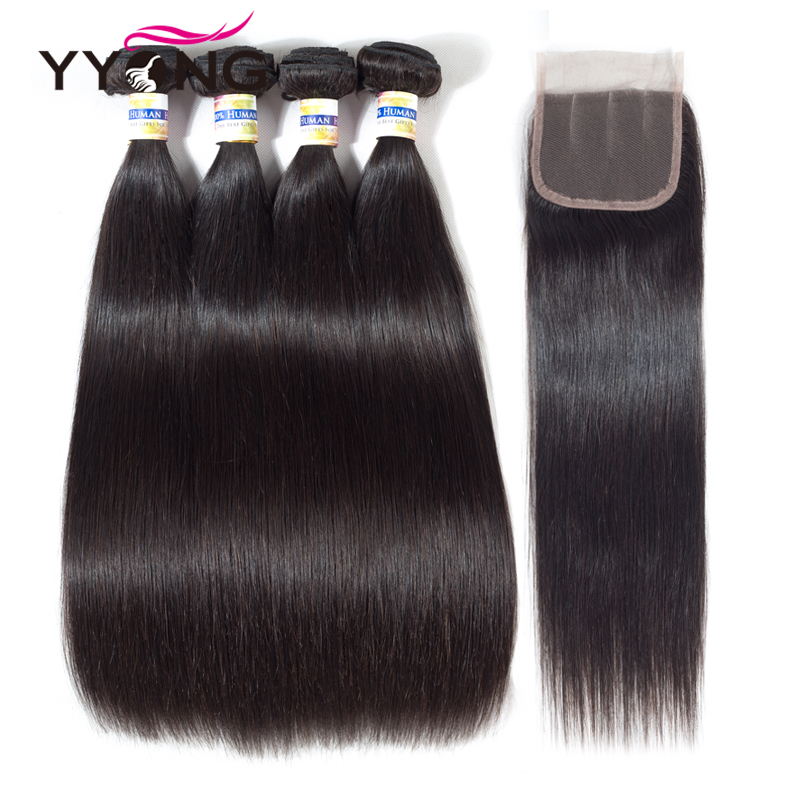 Yyong Pré-Coloré Droite Cheveux 4 Bundles Avec Fermeture Péruvienne Armure de Cheveux Humains Avec Fermeture Non-Remy Cheveux Extensions