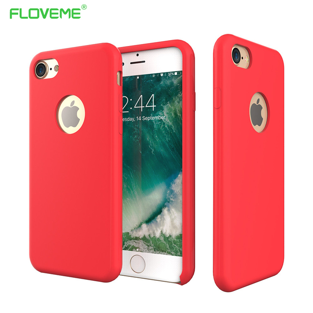 san francisco 9835c 0f7d4 US $7.99 30% OFF|FLOVEME Glossy Liquid Silicone Phone Cases For iPhone 7 7  Plus Case Inside Microfiber Pure Color Back Cover For iPhone 7 plus 7-in ...