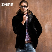 2017 Natural Shearling winter fur male casual outerwear sheepskin wool genuine leather clothing male leather Hooded Fur jacket