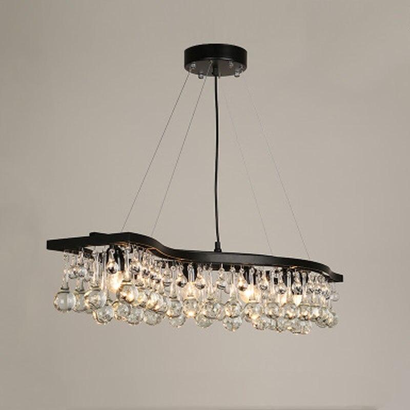 Z American Style Crystal Ball Chandelier Rectangular Wave Design Iron Restaurant Lamps Kitchen Lights Modern Lighting Fixture