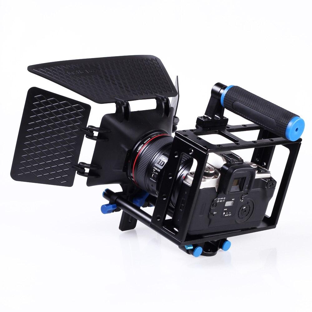 Video Camera Cage Rig con Impugnatura + Matte Box per DSLR Camcorder 5D Mark IIVideo Camera Cage Rig con Impugnatura + Matte Box per DSLR Camcorder 5D Mark II
