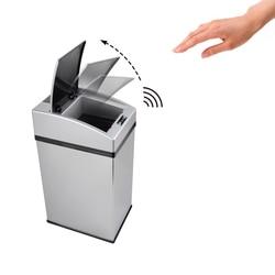 Automatyczny bezdotykowy inteligentny indukcyjny kosz na śmieci ze stali nierdzewnej z wewnętrznym wiaderkiem do kuchni domowej Kosze na śmieci Dom i ogród -