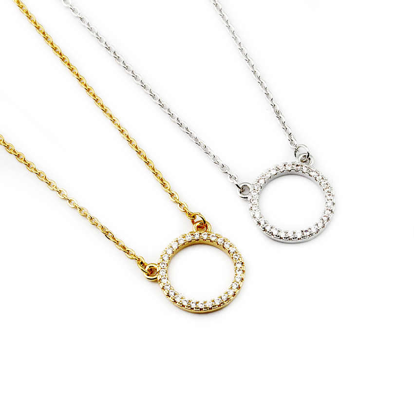Crystal Eternity Karma Circle Pendant Necklace Micro Pave Cubic Zirconia Simple Round Shaped Chain Necklace Women Choker Jewelry