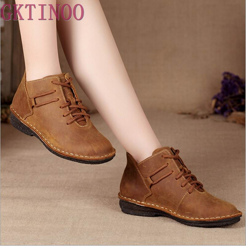 New 2017 Women Genuine Leather Shoes Vintage Casual Shoes Women Fashion Ankle Boots Flat Heel Motorcycle Boots Shoes For Woman front lace up casual ankle boots autumn vintage brown new booties flat genuine leather suede shoes round toe fall female fashion