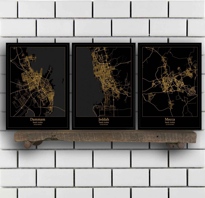 US $8 62 45% OFF|Dammam Jeddah Mecca Medina Riyadh Saudi Arabia Map  Poster-in Painting & Calligraphy from Home & Garden on Aliexpress com |  Alibaba