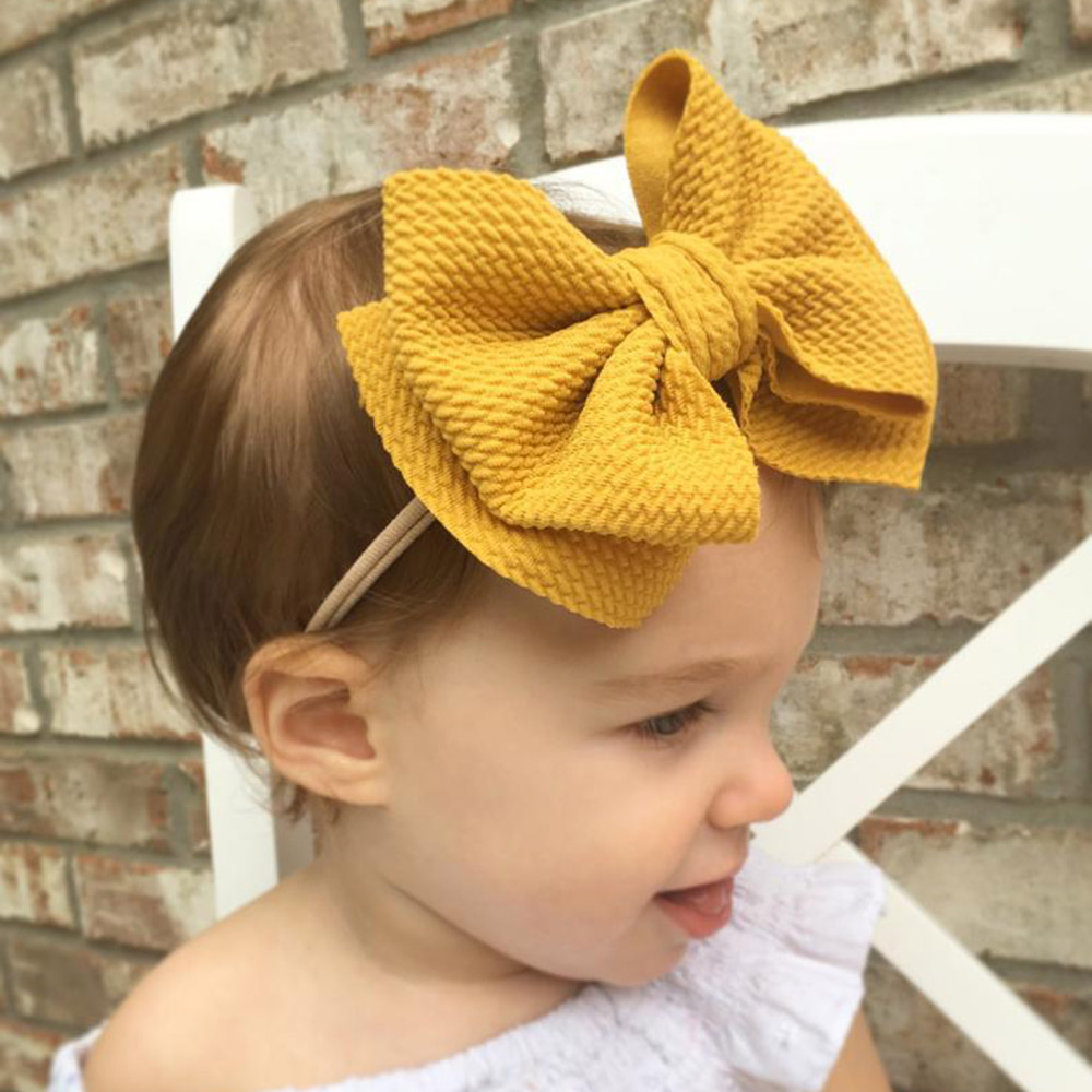 9 Colors Lovely Big Bow Headbands DIY Double Deck Bowknot Nylon Hair Bands For Baby Girls Children Head Wraps Hair Accessories
