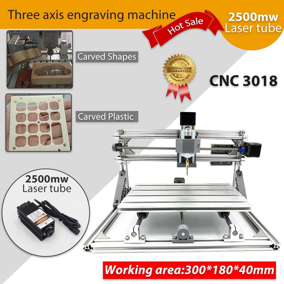 CNC bricolage 3018 bois routeur KIt 3 axes pcb fraiseuse Machine de gravure 2500 mw