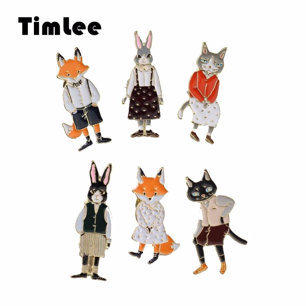 Timlee x297 Бесплатная доставка мультфильм милый Товары для кошек кролики лисы металлическая брошь Шпильки, Модные украшения оптовая продажа