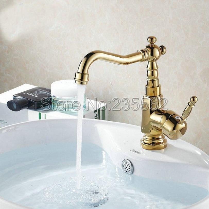 NEW Gold Color Brass Swivel Bathroom Basin Faucet Deck Mounted Vessel Sink Mixer Taps Single Handle