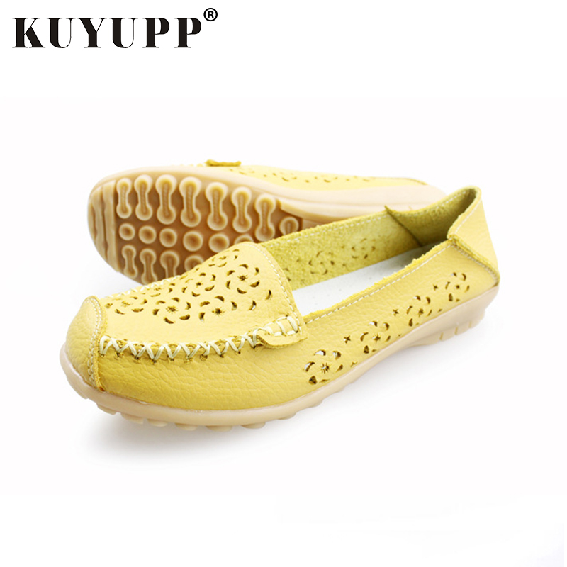 KUYUPP Soft Leather Woman Flat Shoes Spring Fall Comfortable Slip-on Beanie Flats Hollow-out Driving Zapatos Shoes YDT10 2017 spring genuine leather sheepskin shoes womens black white comfortable woman flat boat shoes buckle strap zapatos mujer 002k