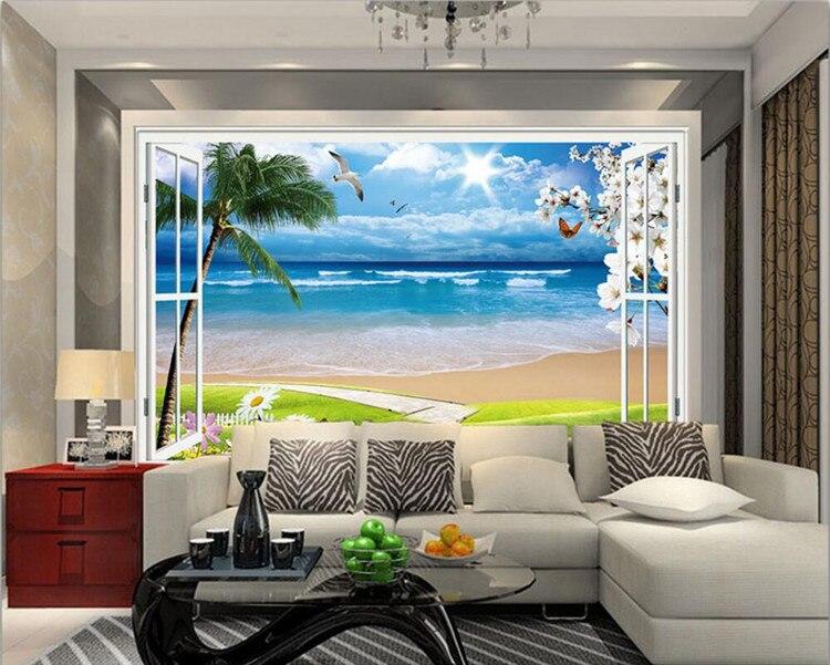 Papel De Parede 3D Large Mural Wallpaper Window Beach Sea Palm Hut Holiday Backdrop Custom Photo Wallpaper For Walls