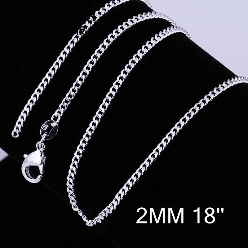 silver plated long chain necklace accessories unisex jewelry for women men C015-18 link chain