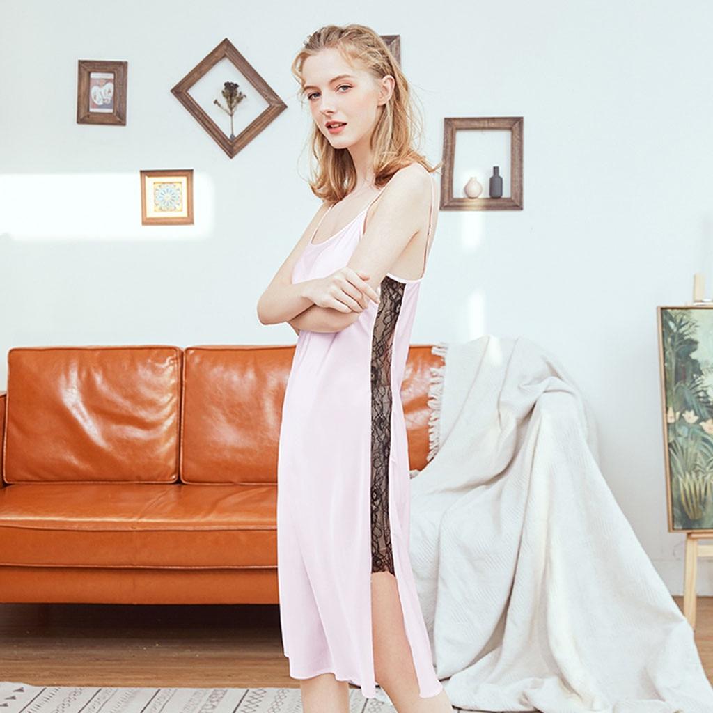 Summer Women   Nightgowns   Knee Length Sexy Sleepwear Dress Silk Homewear Girls Nightwear Lace   SleepShirts   Sling Nightdress Long