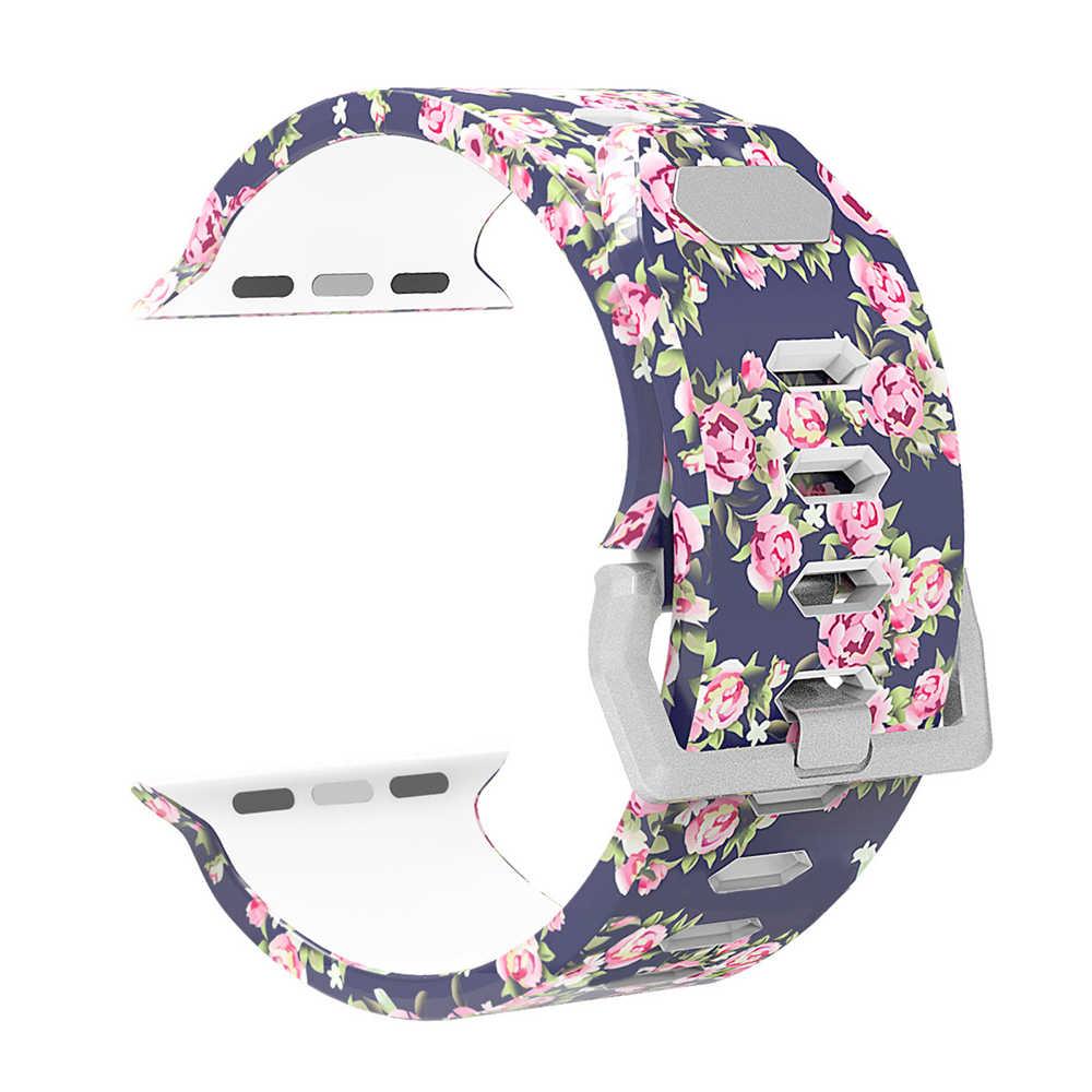 استبدال الفرقة حزام ل أبل ووتش iwatch سلسلة 3/2/1 luxuryEdition 38 مللي متر 42 مللي متر ، المطبوعة سوار معصم من السيليكون