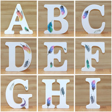 1pc 10cm White Wooden Letters Decorative Alphabet Word Letter Name Design Art Crafts Standing Feather Shape Wedding Home DIY