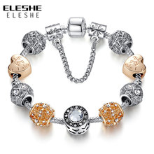 Original Silver 925 Crystal Four Leaf Clover Bracelet with Clear Murano Glass Beads Charm Bracelet Bangle for Women DIY Jewelry