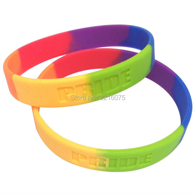 300pcs Rainbow Pride Colorful Silicone Wristband Rubber Bracelets Free Shipping By Dhl Express