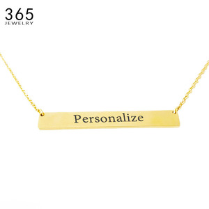 New Personalized Or Blank Bar Pendant Necklace Stainless Steel DIY Custom Name Plate Necklace Can Engrave Word Letters Pendant(China)