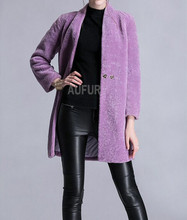 Women Long Real Lamb Fur Coat Casual Style Soft and Warm in Winter Button Decorated Solid Color with Pockets AU00540
