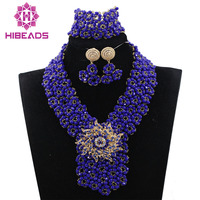 New Indian African Wedding Beads Jewellery Set Fantastic Blue Bridal Jewelry Set Nigerian Bride Jewelry Set Free Shipping ABH308