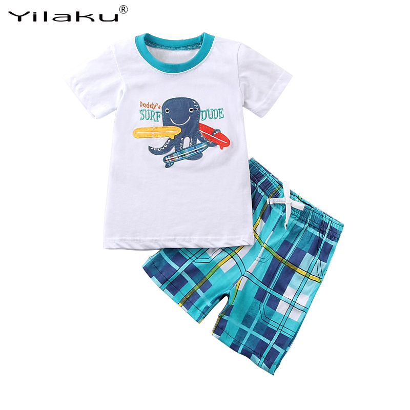 2017 New Kids Clothes Set Summer Casual Cartoon Boys Clothing Sets Children T-shirt+Short Plaid Pants Suit For Boy Outfits CF519