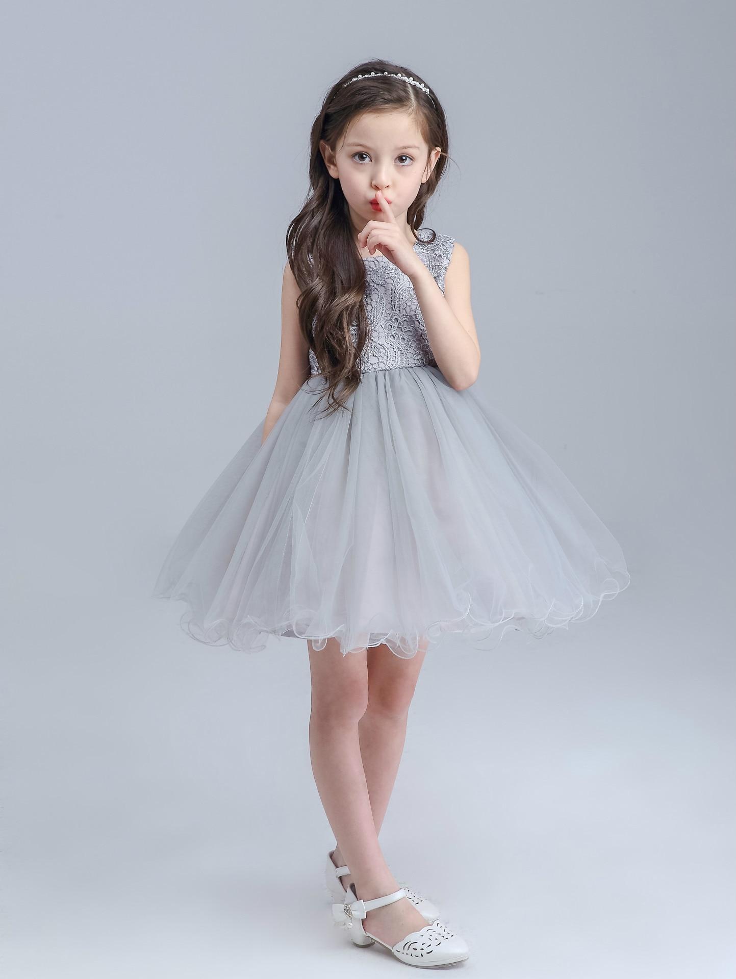 High end Grey Girls Wedding Dress Princess Big Bow Sleeveless ...
