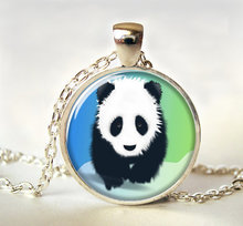 2017 new hot Panda art pendant Panda necklace Art Picture Panda Jewelry Wildlife jewelry Colar Accessories Gift for Child HZ1