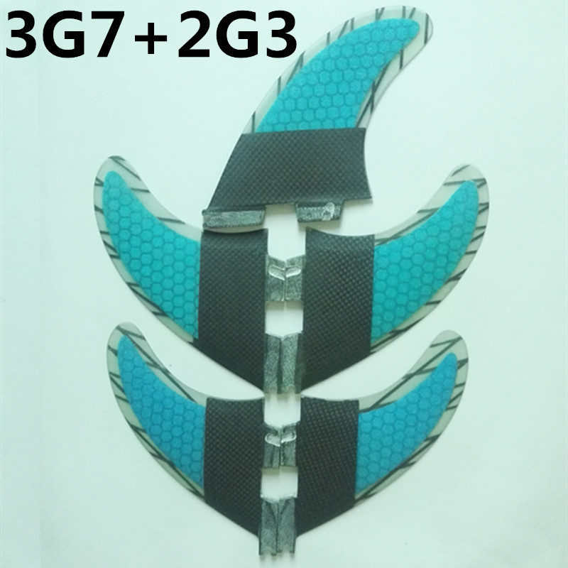 srfda 5pcs High quality FCS II fins with fiberglass honey comb material for surfing 002 size