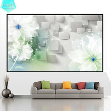 PSHINY 5D DIY Diamond embroidery sale Transparent flowers picture full Square rhinestone painting cross stich