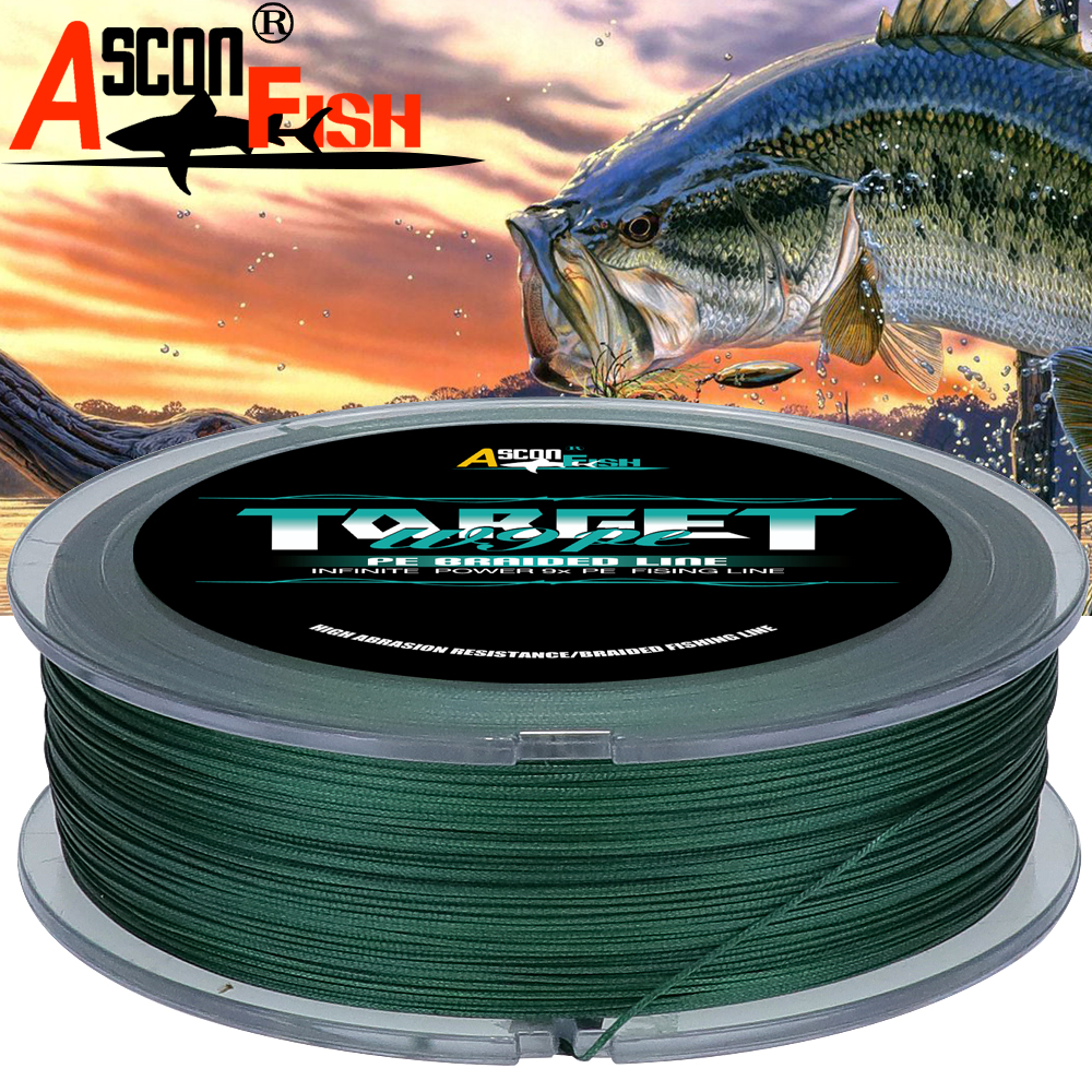 Ascon Fish PE 9 Strands Braided Fishing Line 500m Multifilament Fishing Line 547yd Underwater Hunting Tackle 15 310LB GREEN