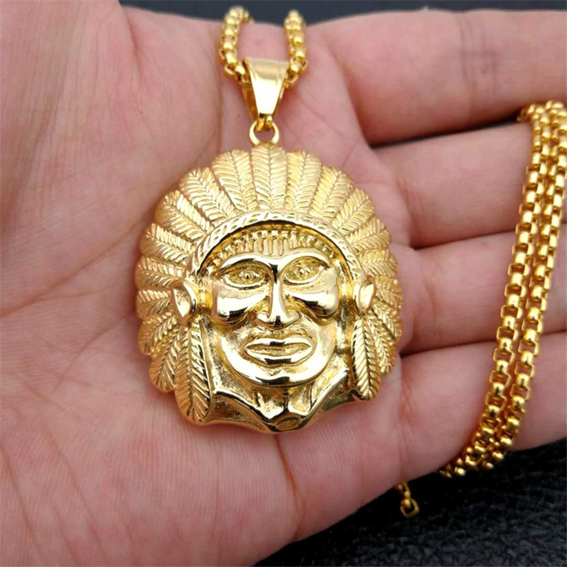 Hip Hop Street Style Chieftain Pendants Stainless Steel/Gold Color Native American Indian Necklaces Male Statuette Jewery