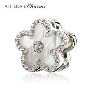 ATHENAIE 925 пробы серебро CZ рябчик оболочка из цветков персикового дерева бусины Подвески Fit Браслеты для Для женщин