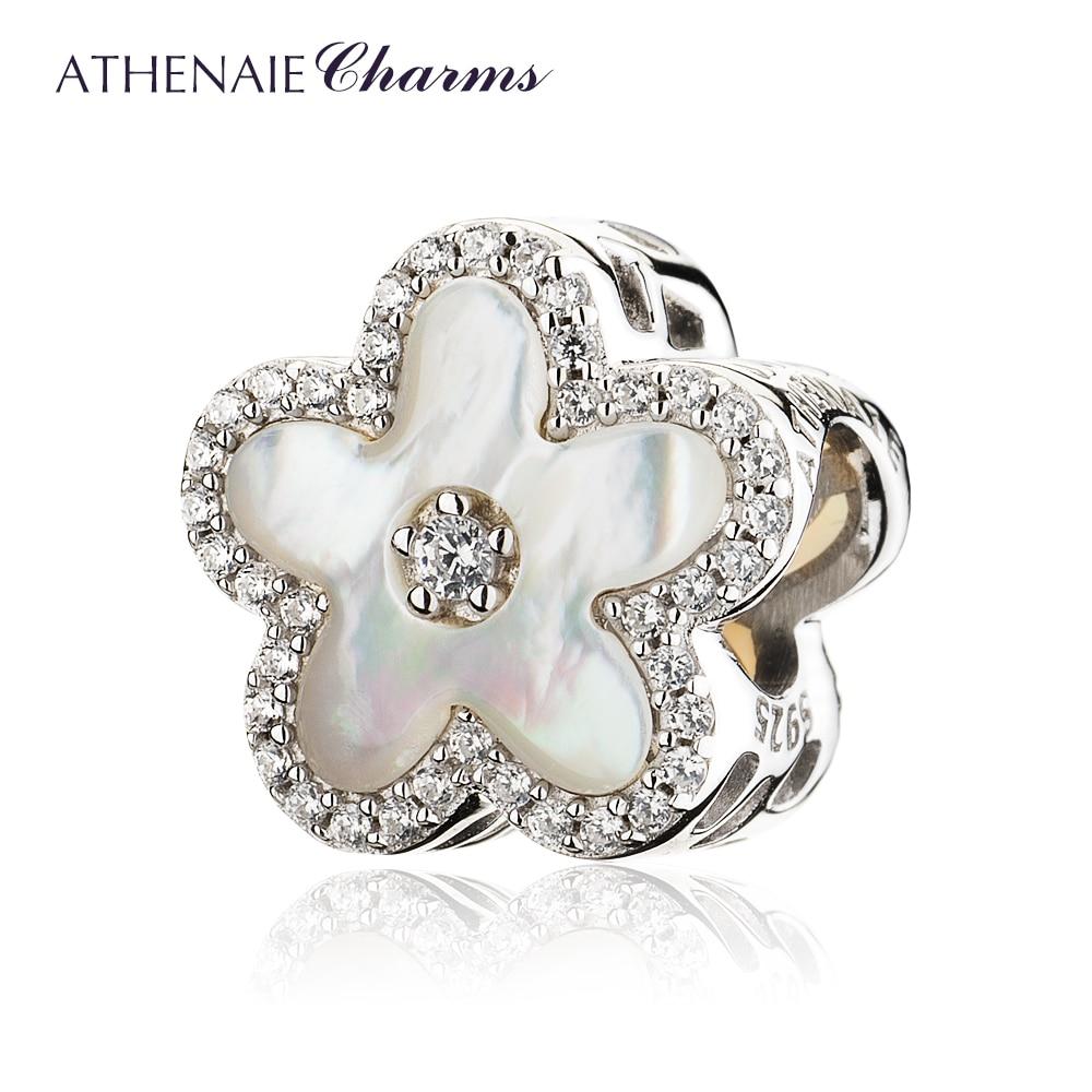 ATHENAIE 925 Sterling Argent Clair CZ Fritillaria Shell Peach blossom Perles Charms Fit Bracelets Pour Les Femmes