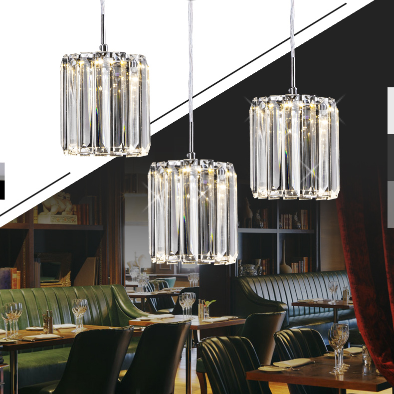 Restaurant crystal Pendant Light personality creative circular bar table lamp minimalist LED crystal 1/3 heads lamps ZARestaurant crystal Pendant Light personality creative circular bar table lamp minimalist LED crystal 1/3 heads lamps ZA
