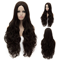 80CM Halloween Wig Heat Resistant Dark Brown Long Curly Wavy Synthetic Hair Women Cosplay Costume party Wigs No Bangs