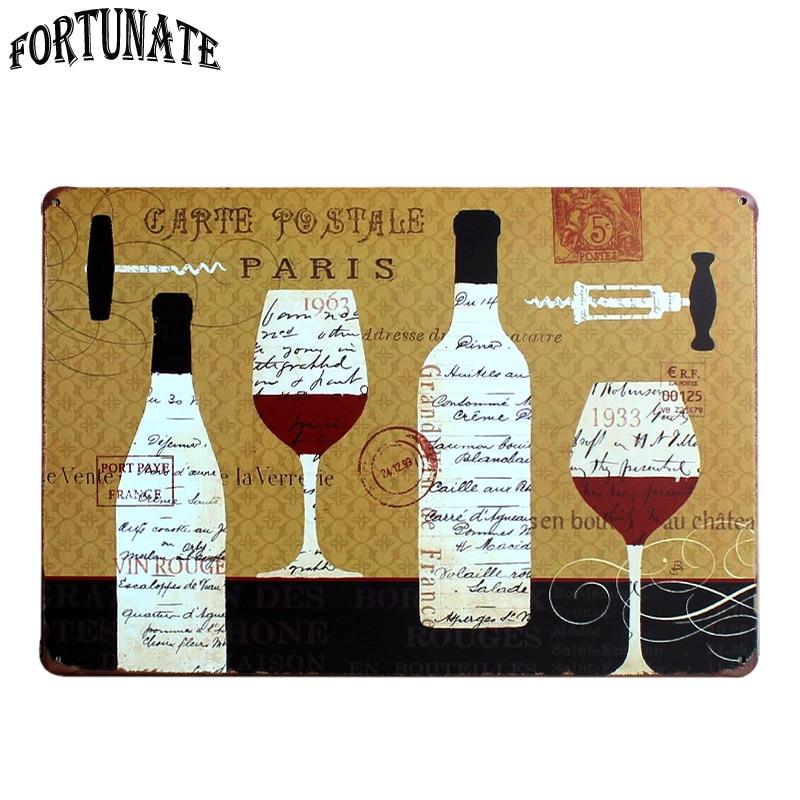 Hot Glass Wine Cup Metal Tin Sign Retro Plaque Poster Bar Pub Club ...