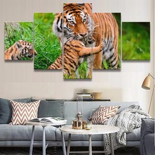 Framework Pictures Home Decorative 5 Piece Animal Tiger Paintings On Canvas Posters And Prints Modular The Wall