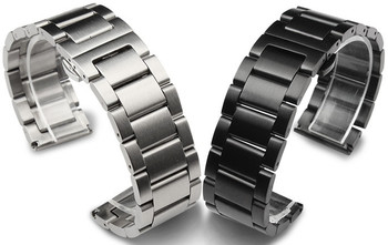 Wholesale 10PCS/lot 18mm 20mm 21mm 22mm 23mm 24mm 304 Stainless Steel Watch bands watch straps black and silver