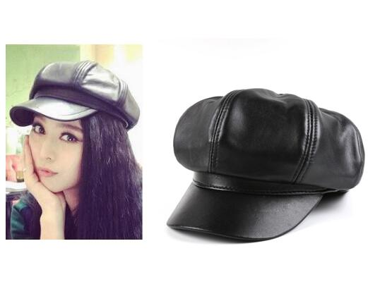 Hot Ladies Octagonal Caps High Quality Women s Sheepskin Winter Spring Leather  Caps Hats Black Stylish Sweeter Best Price 574316e298f