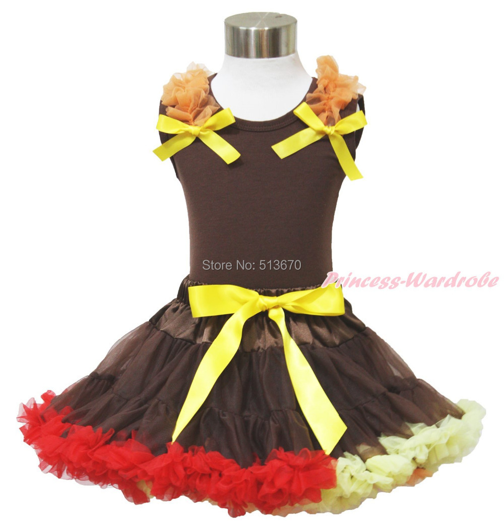 Thanksgiving Ruffles & Bows Pettitop Baby Girl Brown Red Pettiskirt Outfit 1-8Y MAPSA0032 xmas red orange yellow black roses brown top baby girl pettiskirt outfit 1 8y mapsa0038