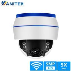HD 5MP купольная ip-камера Sony335 WiFi PTZ 5X оптический зум CCTV камера видеонаблюдения 128 г sd-карта звук, микрофон Запись Onvif