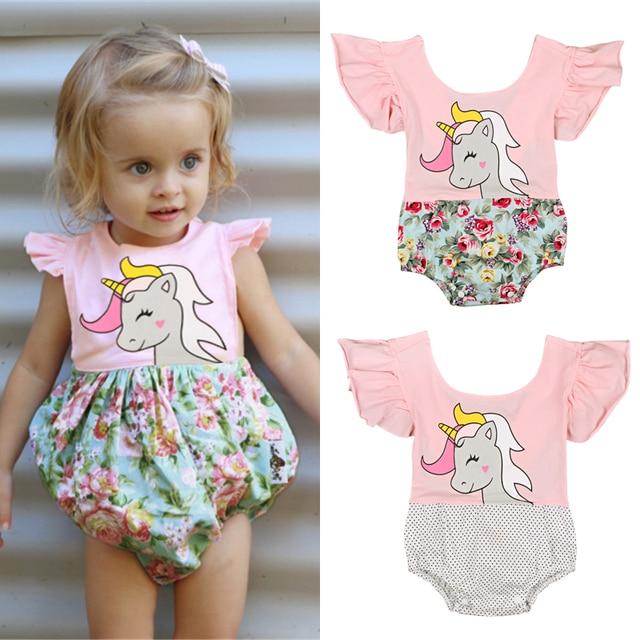 05756ec7734a Infant Baby Girls Floral Unicorn Romper Jumpsuit Outfit Sunsuit Playsuit  Children Toddler Girls Summer Flower Patchwork Rompers