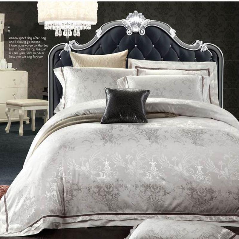 Ágynemű szett textil luxus fehér Jacquard szatén paplanhuzat szett királynő 4pc selyem / pamut ágynemű ágynemű párnahuzat