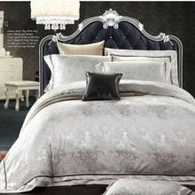 Bedding set home textile Luxury White Jacquard Satin duvet cover set king queen 4pc Silk/Cotton bedclothes bed linen Pillowcases