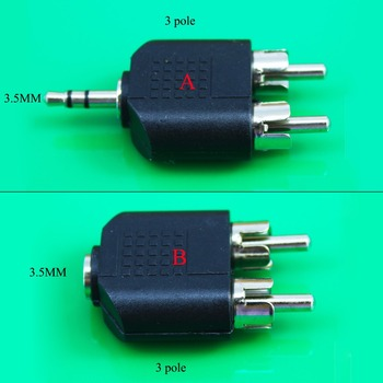 1PC Nicke Plated 3.5mm Audio Stereo Jack Female To 2 RCA Male Audio Jack Connector Adapter Converter for Speaker Power Amplifier image