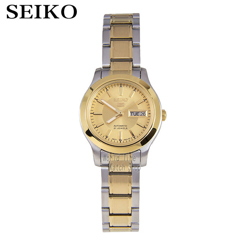 SEIKO Shield No. 5 Dual-color stainless steel automatic machinery female watch double calendar gold dial watch SYMD92K1 seiko shield no 5 business week calendar steel band automatic machine male watch snke01j1 snzf36j1 snzf35j1