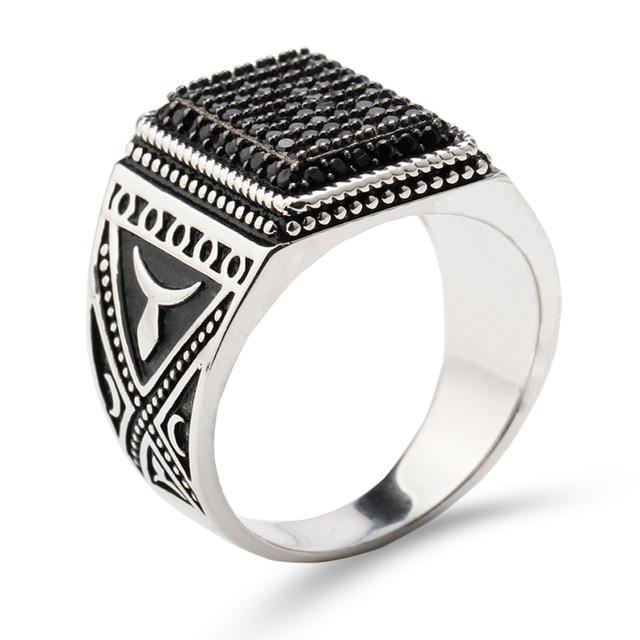 925 Sterling Silver Men Ring Signet Vintage Rilver Rings for Men Black Stone Zircon Antique Rings Men Fine jewelry