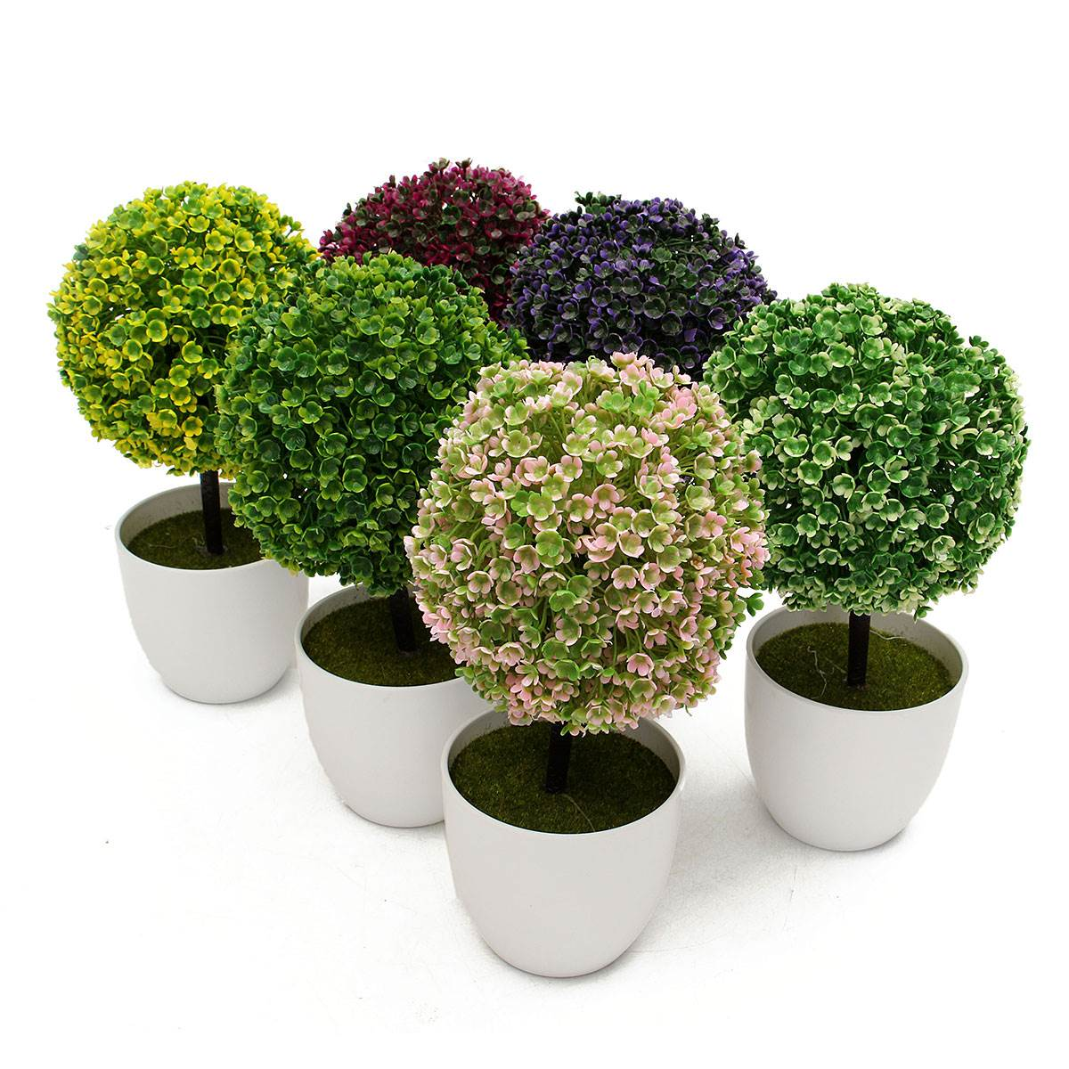 Artificial Topiary Trees Cheap Part - 15: Artificial Topiary Tree Ball Plant Flowers Buxus Plants In Pot Indoor Fake  Bonsai For Garden Home